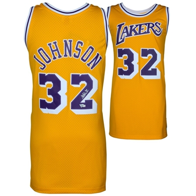 Magic Johnson Los Angeles Lakers Autographed Gold Mitchell & Ness Hardwood Classics Swingman Jersey