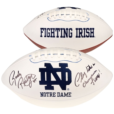 "Rudy Ruettiger Notre Dame Fighting Irish Autographed White Panel Football with ""Play Like A Champion Today"" Inscription"