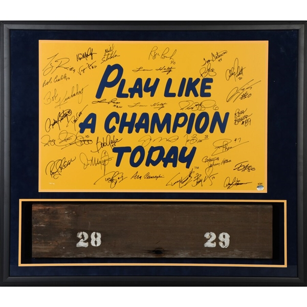 Notre Dame Fighting Irish Framed Multi-Signed 20 x 30 P.L.A.C.T Poster with Bench from Notre Dame Stadium with 32 Signatures