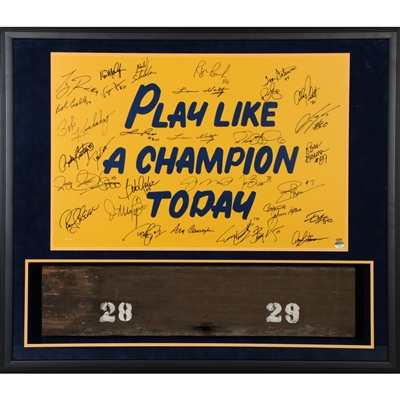"Notre Dame Fighting Irish Framed Multi-Signed 20"" x 30"" P.L.A.C.T Poster with Bench from Notre Dame Stadium with 32 Signatures"