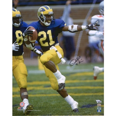"Desmond Howard Michigan Wolverines Autographed 16"" x 20"" Heisman Pose Photograph with ""Heisman 91"" Inscription"