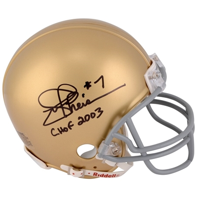 "Joe Theismann Notre Dame Fighting Irish Autographed Mini Helmet with ""CHOF 2003"" Inscription"