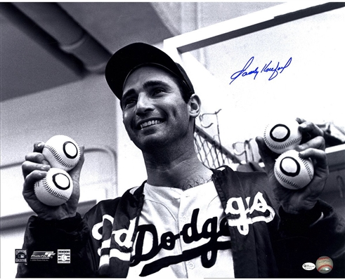 Sandy Koufax Signed Holding Up Baseballs 16x20 Photo (Online Auth)