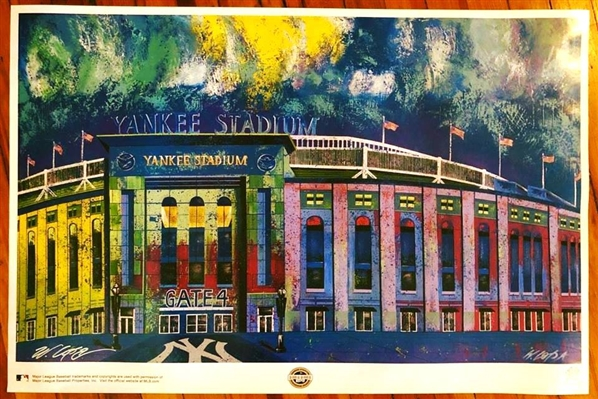 ORIGINAL YANKEE STADIUM FINE ART LITHOGRAPH HAND SIGNED BY ARTIST LOPA MLB LICENSED 24X36