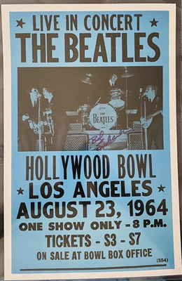 Vintage 1964 The Beatles Hollywood Bowl Concert Poster Signed By Show Promoter Bob Eubanks