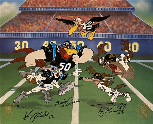 Hand Painted Cel of 250 Signed By Jacksonville Jaguars Tony Boselli & Carolina Panthers Kerry Collins