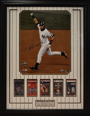 New York Yankees Captain Derek Jeter Signed Collage With 5 World Series Tickets Framed