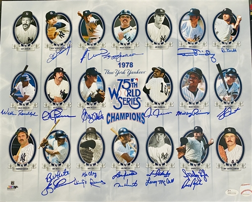 New York Yankees 75th World Series Champions 16x20 Photo Signed By: Reggie Jackson, Goose Gossage,Ron Guidry & More