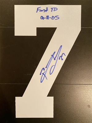 New York Giants Former Running Back Brandon Jacobs Signed White #7 With Inscription - First TD 9-11-05
