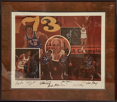 1973 New York Knicks Signed Autographed Lithograph Limited Edition 996/1973 Framed