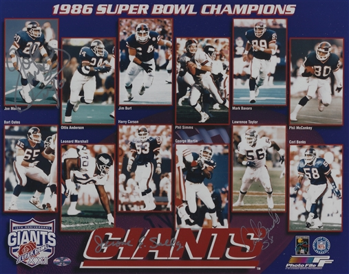 New York Giants 1986 Super Bowl 8x10 Photo Signed By: Joe Morris, Jerome Sally & Carl Banks