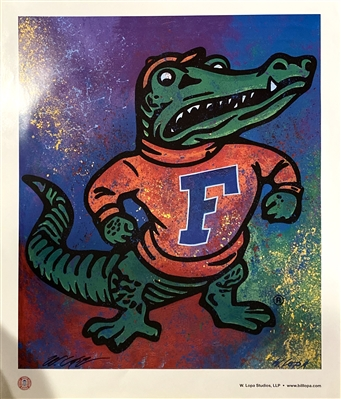 Florida Gators Mascot Lithograph Signed By The Artist Bill Lopa