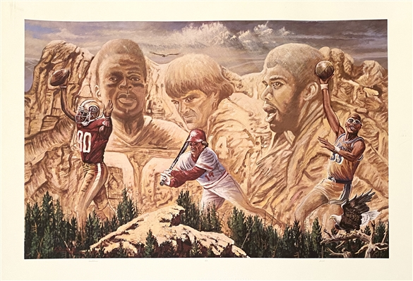 """The All-Time Leaders"" Fine Art Lithograph - Pete Rose, Jerry Rice, Kareem Abdul Jabbar"