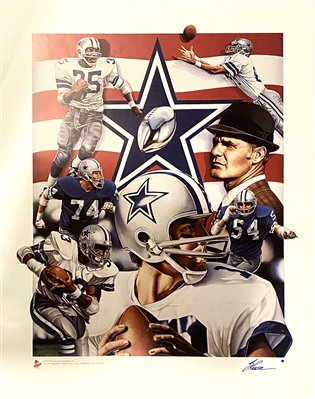 "DALLAS COWBOYS ""Americas Team Fine Art Lithograph STAUBACH, LILLY, DORSETT, LANDRY Signed By Artist Steve Parsons"