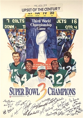 New York Jets Upset Of The Century Reprint Lithograph Facsimile Signatures By artist Ron Lewis