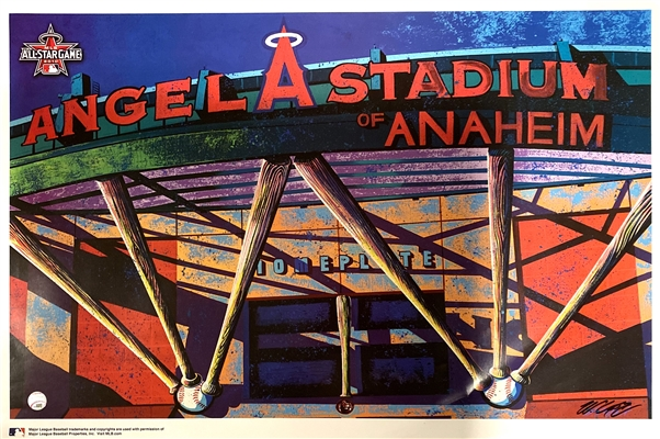 Anaheim Angel Stadium Glossy Art Lithograph Signed by Artist Bill Lopa