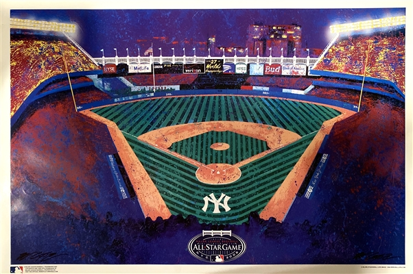 2008 ALL STAR GAME YANKEE STADIUM FINE ART LITHOGRAPH BY ARTIST BILL LOPA 28X22""