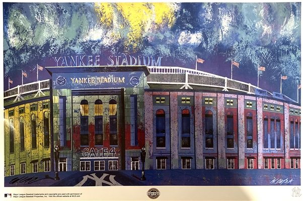 Original Historic NY Yankee Stadium Glossy Art Lithograph Signed by Artist Bill Lopa