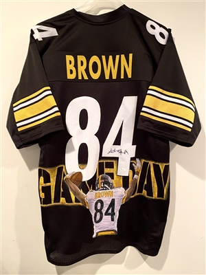 Pittsburgh Steelers, Oakland Raiders, New England Patriots Former Wide Receiver Antonio Brown Signed Hand Painted Jersey By Artist Doo S Oh