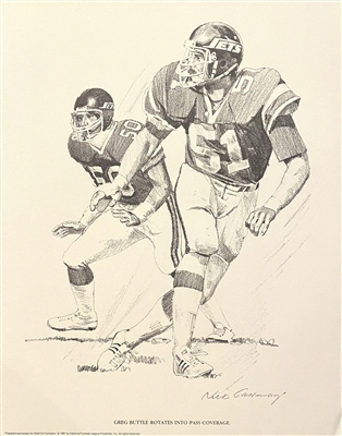 New York Jets Greg Buttle Pencil Drawing Signed By The Artist Nick Galloway