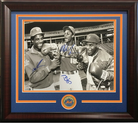 New York Mets Darryl Strawberry, Doc Gooden And Boxer Mike Tyson Triple Signed 16x20 Photo Framed