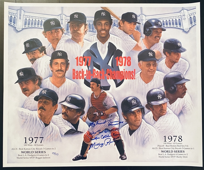 Back To Back Champs  1977-78 Fine Art Hand Signed by Mickey Rivers with Inscription