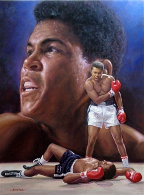 MUHAMMAD ALI ORIGINAL PAINTING ON CANVAS SIGNED BY ARTIST DOO S. OH
