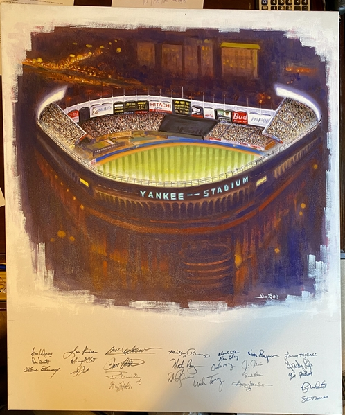 Yankee Stadium Original Doo S. Oh Art Hand Signed By The 1977-78 World Champs