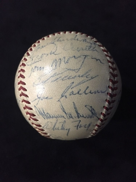 1956 Yankees Team Signed World Series Baseball with Mickey Mantle JSA/COA