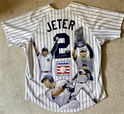 """DEREK JETER CAREER"" Signed Jersey Hand Painted by Artist Doo S. Oh"
